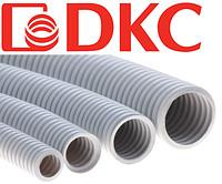 Труба ПВХ гофрированная DKC д.16 мм, тяжёлая с протяжкой, цвет серый (бухта 100 м)