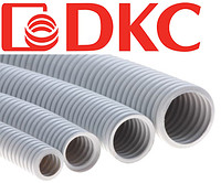 Труба ПВХ гофрированная DKC д.25 мм, тяжёлая с протяжкой, цвет серый (бухта 50 м)